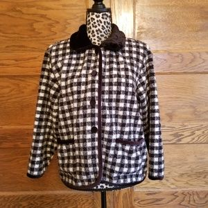 Talbots Women Black White Plaid Jacket